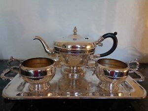 Vintage Viking Silver Plate On Copper Tea Coffee Set Service 4 Feet Handled Tray