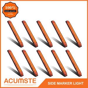 10x 8 Amber Led Utility Strip Bar Surface Mount 18led Side Marker Light Sealed