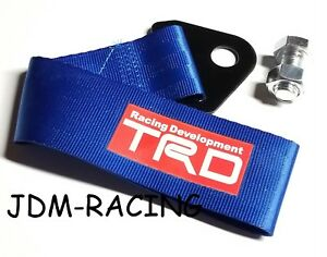 Jdm High Strength Trd Toyota Tow Strap For Front Rear Bumper Towing Hook Blue