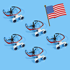 5pcs Usa Dental Surgical Binocular 3 5x Loupes Optical Glasses Magnifier Red Y
