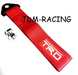 Jdm Trd Toyota Racing Universal Front Rear Tow Strap Tow Hook Ribbon Red