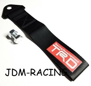 Jdm Trd Toyota Racing Universal Front Rear Tow Strap Tow Hook Ribbon Black