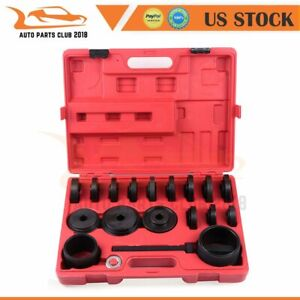23 Pcs Fwd Front Wheel Bearing Press Kit Removal Adapter Puller Pulley Tool Case