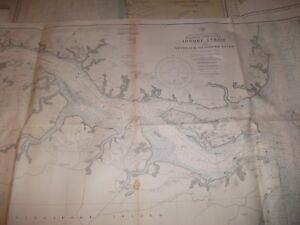 Vintage Nautical Maritime Chart Eastern Asia Portion Of Johore Straight