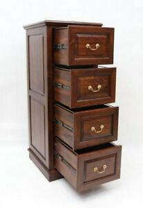 Solid Mahogany Wood 4 Drawer File Cabinet Brown Walnut
