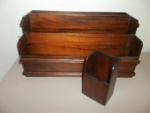 Vintage Selamat Wood Desk Office Desktop Organizer File Mail Sorter Ask12 A3k