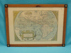 Antique Abraham Ortelius Map Americae Sive Novi Obris Nova Descriptio 2 Sided
