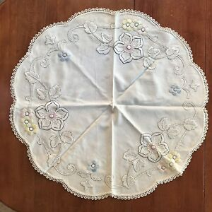 Antique Victorian Society Silk Work Hand Embroidered On Linen Table Scarf 31
