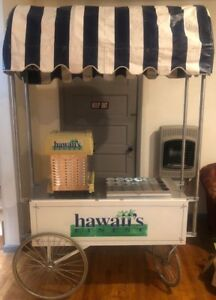 Hawaii s Finest 1027 Shaved Ice Machine W Cart Awning Bottle Rack Snow Cones