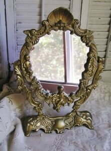 Vintage Oval Gold Metal Rococo Swivel Mirror With Cherubs Ladies Vanity Dresser