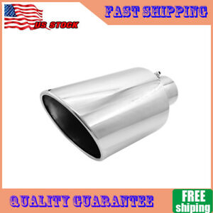 4 Inlet 8 Outlet 15inch Long Chrome Diesel Exhaust Tip Stainless Steel Bolt On