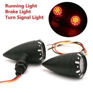 Pair Motorcycle Dual Colors Bullet Led Brake Running Drl Turn Signal Tail Lights