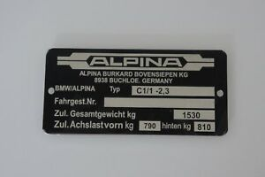 Alpina C1 2 3 Bmw E21 Engine Tag