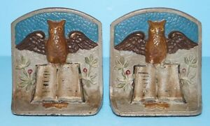 Antique Owl On Books Cast Iron Bookends Book Of Knowledge Circa 1920 S