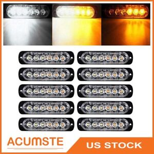 10pcs Amber white Car 6 Led Emergency Strobe Light Kit Bar Marker Flash Warning