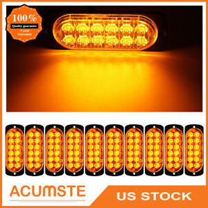 4pcs Amber White Car 6 Led Emergency Strobe Light Kit Bar Marker Flash Warning