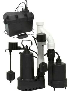 Cast Iron 1 2 Hp Primary Backup Sump Pump Set Battery Alarm Basement Ac Dc Kit
