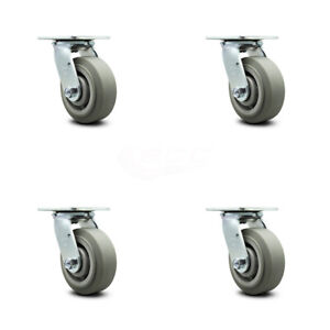 Scc 5 X 2 Thermoplastic Rubber Wheel Swivel Casters Set Of 4