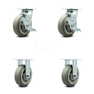 Scc 6 X 2 Thermoplastic Rubber Wheels Caster Set 4 2 Swivel W brakes 2 Rigid