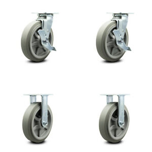 Scc 8 X 2 Thermoplastic Rubber Wheels Caster Set 4 2 Swivel W brakes 2 Rigid