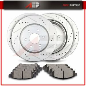 Front Rear Driled Slotted Brake Discs Rotors Ceramic Pads For Suzuki Equator