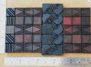 Letterpress Wood Printing Blocks Ornaments Decorative Border Vintage Geometric