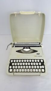 Vintage Scm Smith Corona Portable Typewriter Hard Cover Case Working Used