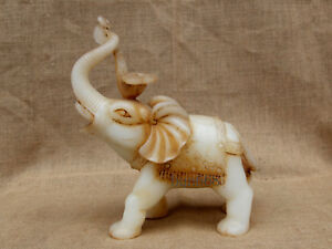 10 China Handcarved Old Antique White Jade Ruyi Elephant Statue