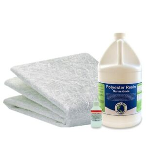 Fiberglass Repair Kit 1 Gallon Of Polyester Resin And 75x38x10 Yards Fiberglass