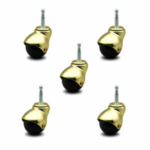 Scc Bright Brass Hooded 2 Swivel Ball Casters With 5 16 Grip Neck Stem Set 5