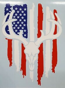 Patriotic Flag Buck Deer Skull Hunting Truck Window Custom Vinyl Decal Sticker