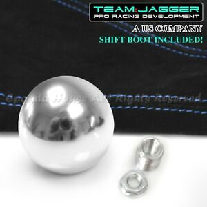 For Scion Lexus M12 Round Chrome Ball Manual Gear Shift Knob Blue Stitch Boot