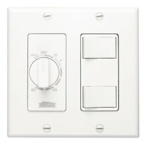 Broan nu Tone 20 Amp 60 minute In wall Dial Timer W 2 On off Rocker Switches