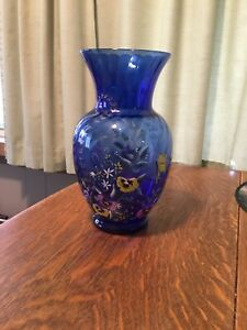 Art Nouveau Moser Enamelled Vase Blown Mould Signed Jutta Jutta Sika