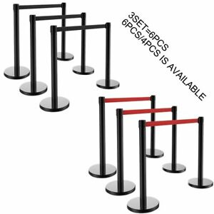 4 6pcs Stanchion Posts Queue Pole Retractable Belt Crowd Control Barrier Blk red