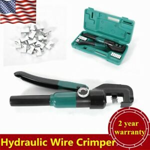 10t Hydraulic Wire Terminal Crimper Battery Cable Lug Crimping Tool W dies Case