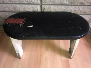 Vintage Antique Wood Foot Stool Vinyl Folk Art Primitive Shabby Chic