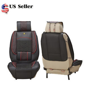 1x Universal Leather Car Seat Cover Cushion Back Support Waist Massage