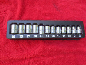 Snapon 12 Pc 3 8 Drive 6 point Metric Flank Drive Shallow Socket Set 8 19 Mm