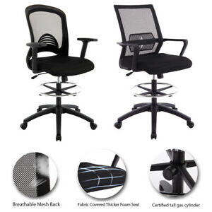 Mid Back Drafting Home Office Chair Adjustable Swivel Designer Desk Task Chair