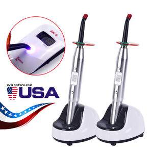 Usps 2 X Dental Led Curing Light Lamp Light With Guide Tip 2700mw cm2 Silver