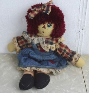 Primitive Doll Farm House Annie Raggedy Dress Patches Plaid Andy Bow