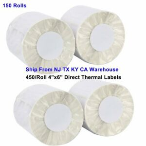 150 Rolls 450 roll 4x6 Direct Thermal Shipping Mailing Labels For Zebra Printers