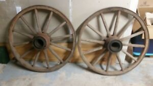 2 Large Antique Vintage Wood Metal Rim Wagon Wheels About 41 Inch Diameter
