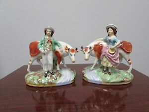 Pair Of Pre 1900 Staffordshire Figurines Man Woman With Cows Old Orange Mark
