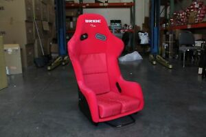 Bride Style Zg Fixed Back Full Bucket Racing Seat Red Cloth Black Frp Shell
