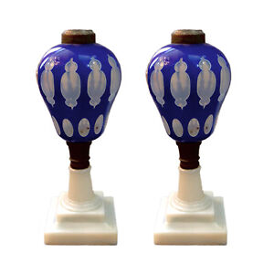 Pair Of Rare Sandwich Glass Overlay Oil Lamps C 1850