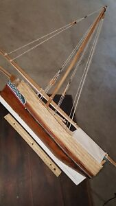 Wooden Model Sail Boat Pond Boat Look Measures 24 Inches Long