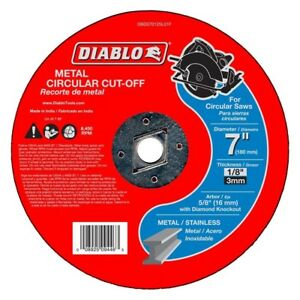 Diable 7 X 1 8 X 5 8 In Reinforced Metal Cutoff Disc Circular Saw Cut Off 10pack