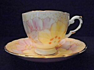 Vtg Tea Cup England Tuscan China Plant Floral Pink Yellow Purple White